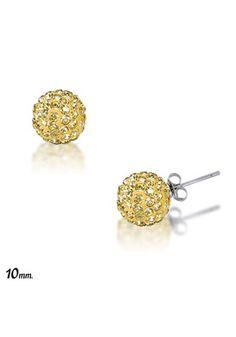 Divine Silver Sterling Silver Gold Crystal Stud Earrings