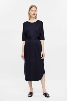 COS image 1 of Belted jersey dress in Navy Blue