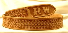Hand-tooled western leather belts - custom leather belts - Lone Tree Leather Works Bargain Shop Tooling Pattern:  Basketweave Style:    Cowboy