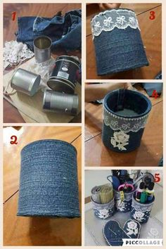 Multipurpose Glass Holder From Denim And Lace ideas clothes projects 54 Clever Things with Old Clothes You Can Do Instead Of Throwing Them Aluminum Can Crafts, Tin Can Crafts, Jean Crafts, Denim Crafts, Diy Home Crafts, Diy Arts And Crafts, Sewing Crafts, Diy Storage Boxes, Old Clothes