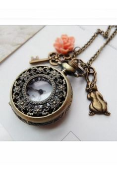 Alice in Wonderland Pocket Watch Necklace oh my I love this...its JUST my style...vintage and lovely