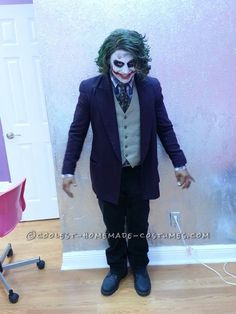 My wife made this all possible. I just told her who I wanted to be for Halloween and she was off. She found all the clothes pieces at a thrift store except Joker Halloween Costume, Halloween Ideas, Homemade Costumes, Fancy Dress, Holiday Fun, Thrifting, Batman, Cosplay, Cool Stuff