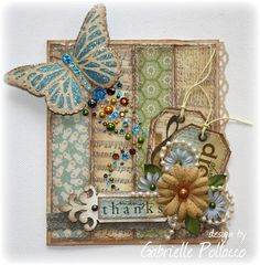 Card by Gabrielle (Such a Pretty Mess) Love the soft pastel colors and butterfly trail!