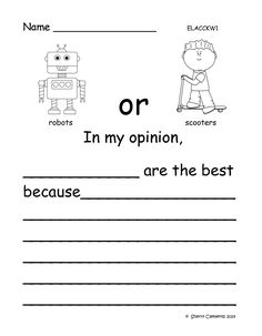 Opinion Writing: Favorite Toys - Kindergarten writing or 1st and 2nd grade opinion writing - UPDATED CLIP ART - now black and white to allow students to color and show their choice! $