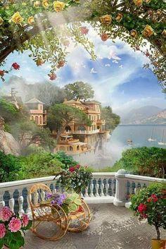 belles images - Page 3 Fantasy Landscape, Landscape Art, Landscape Paintings, Fantasy Art, Beautiful Nature Wallpaper, Beautiful Paintings, Beautiful Landscapes, Beautiful Sites, Beautiful Gardens
