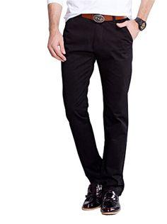 Mr.Freeman Mens Casual Cotton Solid Slim Fit Pants(Black,28)