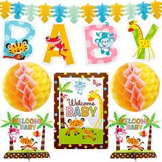 """Our 10-piece Fisher Price Baby Shower Decorating Kit includes everything you need to make your party a hit!  Includes: one 14"""" sign reading """"Welcome BABY"""", four 12"""" letter cutouts which read """"BABY"""" when positioned together, two 9"""" tall stand-up table centerpieces reading """"WELCOME BABY"""", two 12"""" honeycomb ball decorations, and one 12-foot paper garland resembling jungle leaves.  It's an all-in-one decorating kit!"""