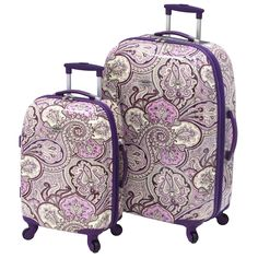 The Waverly Trends Purple Paisley 2-piece Spinner Luggage set makes traveling a little prettier. These 360-degree spinner wheel suitcases are simple to maneuver, lightweight, and offer ergonomic TPR p