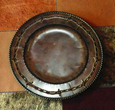 """Barbwire Embossed Rustic Iron Charger (14"""")-Cowboy Living. ALSO WANT!"""