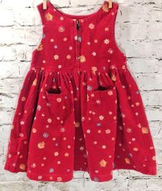 St Michael Marks & Spencer Pinafore Corduroy Red Dress Size 90cm 1.5-2 Year Girl #MarksandSpencer #Pinafore #CasualFormalParty #Corduroy