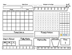 Math meeting worksheet- would work with Saxon math.