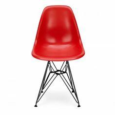 Eames Style Red DSR Eiffel Chair (Black Legs)
