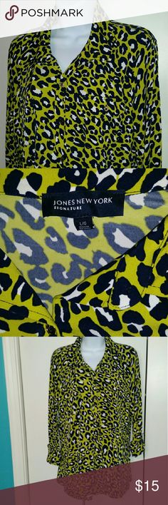 work Leopard blouse this is so comfortable, it's slinky and stretchy.  I've also got some navy blue dress pants that would match perfectly in a 14! Jones New York Tops Blouses