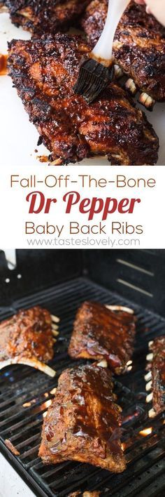 Fall-off-the-bone tender Dr Pepper Baby Back Ribs - the best ribs you'll ever have! Made with Dr Pepper from Pellet Grill Recipes, Grilling Recipes, Cooking Recipes, Smoker Recipes, Grilling Ribs, Ribs On Grill, Healthy Grilling, Budget Recipes, Barbecue Recipes