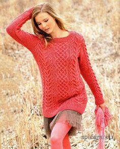 Удлиненный коралловый пуловер с аранами (спицы). Обсуждение на LiveInternet - Российский Сервис Онлайн-Дневников
