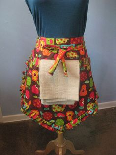 LOVE this apron! colorful fruit half-apron with towel...