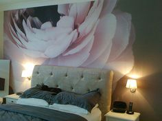 A happy customer's new mural. This self installed mural is now a much cherished addition to this customer's bedroom.    Nic Miller's Ranunculus II has been produced as a satin smooth finish mural  to transform the bedroom dynamic.