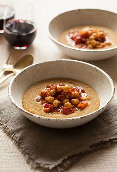 Creamy amaranth polenta and chickpea marinara recipe cooking Healthy Dinner Recipes, Vegan Recipes, Cooking Recipes, Bbc Recipes, Healthy Lunches, Cooking Tips, Marinara Recipe, Pizza, Dinner For Two