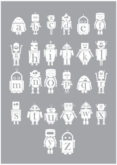Robot Alphabet Poster - White  $40.00      WANT THIS!!