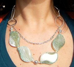 SALE ITEM Silver Necklace Statement Jewellery Green Agate