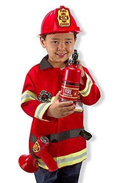 Melissa Doug Dress Up Game Fireman Chief Role Pretend Play Costume Set Red 5-10 #MelissaDoug