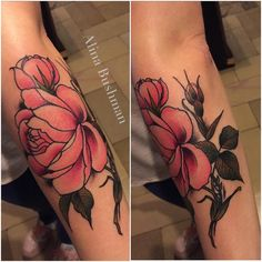 "electrictattoos: ""alinabushman: "" Done @taetowierhandwerkkirschner #kletterrosen #rosetattoo #düsseldorf #ddorf #traditionaltattoo #neotraditional #newtraditional #flowertattoo #ruhrpott #ruhrgebiet #alinabushman #inked #tattoo #tattoos..."