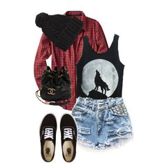 beanie, wolf top and check shirt with shorts