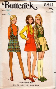 1970s U Neck Mini Jumper Pattern  Vintage Butterick by ErikawithaK