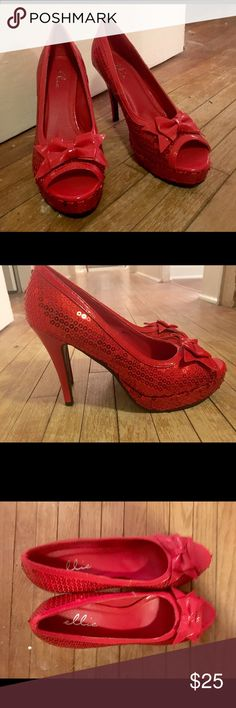 Red Dorothy Heels. Just click your heels together and imagine yourself in these. Very fun shoes & lightly worn. There is no place like your home for these! Shoes Heels