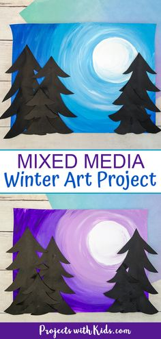 Create beautiful mixed media winter art with easy techniques and simple supplies. A fun winter art project that kids will love to create! #projectswithkids #winterart #kidsart #mixedmediaart