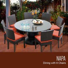 TK Classics Napa 9 Piece Dining Set with Cushions Cushion Color: Tangerine