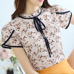 >> Click to Buy << Flower Printed Chiffon Shirt 2017 Spring Summer Short Sleeved Blouses Lacing Slim Women Tops Plus Size Women's Clothing #Affiliate