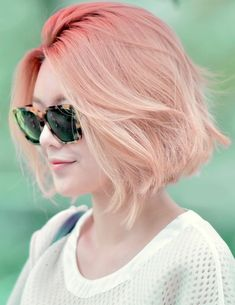 cute, hair, korean, short hair, smile, sunglasses, white, light orange More