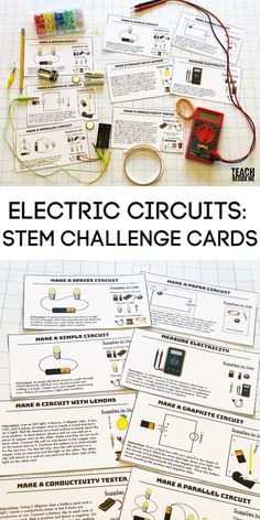 Building Electric Circuits: STEM Challenge Cards Awesome STEM challenge cards for kids: Teach about building electric circuits with eight different printable challenge cards. Steam Activities, Science Activities For Kids, Stem Science, Physical Science, Science Classroom, Science Fair, Science Education, Earth Science, Science Experiments