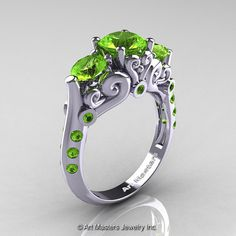 Art Masters 10K White Gold Three Stone Peridot by DesignMasters