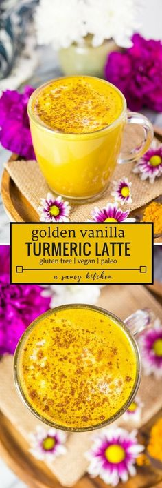 Rich and creamy Golden Turmeric Latte with coconut milk, coffee, cinnamon and a splash of vanilla blended together in seconds | #GlutenFree + #Vegan + #Paleo #GoldenMilk