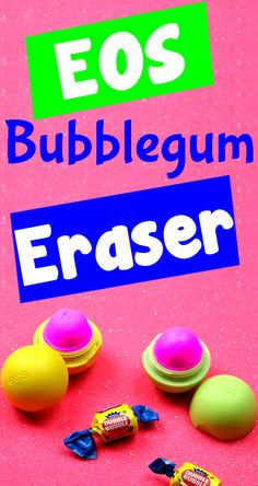 DIY Erasers - Make an EOS Lip Balm Eraser!  Here is an easy & fun way to make your own scented DIY erasers with a bubble gum scent! In this DIY craft video tutorial you will learn how to make a clay eraser and with a candy inspired theme.  I hope you have fun with this craft idea - it makes a great school craft idea as well as a fun DIY gift for any bubble gum lover.  These would even make great party favors for an upcoming birthday!