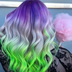 """💘THE SET UP 💘 & collabed on this color but with a little """"blind date"""" twist! 😍 They took turns with the application while the other had to wait and see without peeking 👀! The results are a PERFECT MATCH! Purple And Green Hair, Dyed Hair Purple, Green Hair Colors, Hair Color Purple, Hair Dye Colors, Cute Hair Colors, Pretty Hair Color, Split Dyed Hair, Cotton Candy Hair"""