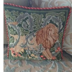 William Morris lion needlepoint by Beth Russel