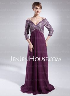 Mother of the Bride Dresses - $166.29 - A-Line/Princess Off-the-Shoulder Sweep Train Chiffon  Charmeuse Mother of the Bride Dresses With Embroidered  Sash (008005987) http://jenjenhouse.com/A-line-Princess-Off-the-shoulder-Sweep-Train-Chiffon-Charmeuse-Mother-Of-The-Bride-Dresses-With-Embroidered-Sash-008005987-g5987