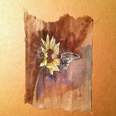 363 days of tea. Day 221. #recycled #teabag #art #sunflowers www.rubysilvious.com