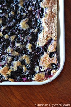 "Blueberry Cobbler (Per pinner - Used 2 pints blueberries & butter instead of shortening, blended w/fingertips to get ""sandy"" texture. Took entire hr to bake.very easy and yummy. Köstliche Desserts, Delicious Desserts, Dessert Recipes, Yummy Food, Yummy Treats, Sweet Treats, Blueberry Recipes, Trifle, The Fresh"