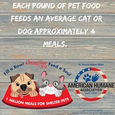 Help us feed a million meals to shelter pets! Chicken Soup for the Soul will provide up to 1 million meals by donating one pound of pet food to shelter pets for every Chicken Soup for the Soul pet food item purchased by participating retailers from June 15, 2016 – December 31, 2016.   http://chickensouppets.com/fabfas