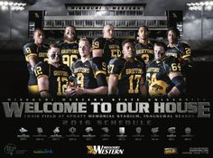 See all the latest and greatest college athletics posters and graphic design work! Football Team Pictures, Football Quotes, Team Photos, Sports Photos, Football Banner, Football Themes, Football Stuff, College Football, Missouri Western