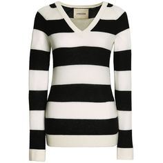 Canvas by Lands' End Women's Cashmere V-neck Sweater ($195) ❤ liked on Polyvore featuring tops, sweaters, cashmere tops, v-neck sweater, striped v neck sweater, stripe top and cashmere v-neck sweater