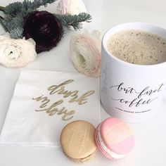 I love macs...especially when they are brushed with gold! A mid-morning pick me up courtesy of @laceylousbakery  Also if you are looking for some stocking stuffer ideas our mugs make an excellent option! {Order by Dec 15 to receive before Christmas   shop link in profile} #coffee #stockingstuffers by lhcalligraphy