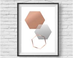 Faux Rose Gold Print Faux Copper Wall Art Geometric by PrintAvenue