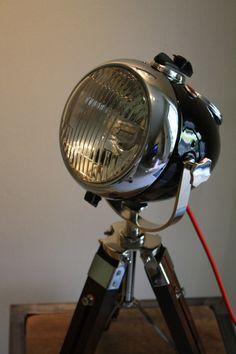 Vintage Ural Motorcycle Headlight Table Lamp by TheModernWeld