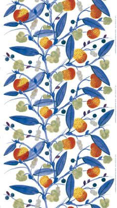 Paratiisi Sateen Fabric White/Blue/Red/Yellow