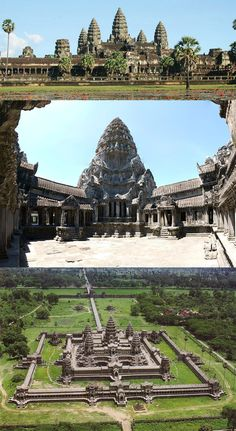 """Angkor Wat : the largest religious monument in the world. Located in """"Angkor, Siem Reap Province, Cambodia""""___Was Built in 12th century,, It was first a Hindu, then became a Buddhist later___ A unique combination of the temple mountain, the standard design for the empire's state temples and the later plan of concentric galleries.___The temple is a representation of Mount Meru, the home of the gods."""